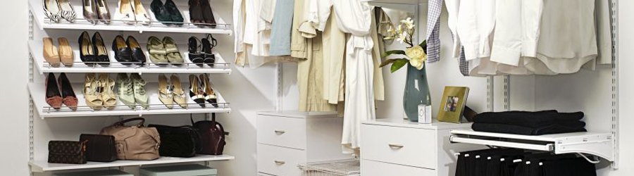 Adjustable White Wardrobe shelving
