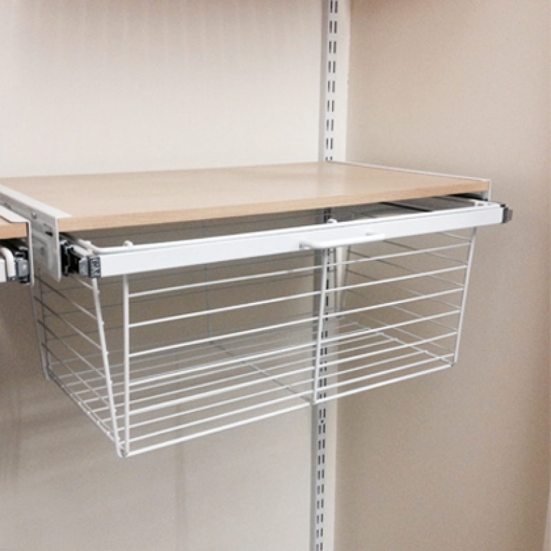 Maple basket drawer with white ventilated wire bottom