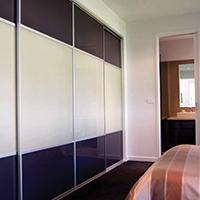 Custom made sliding wardrobe doors in Glass and Melamine Perth