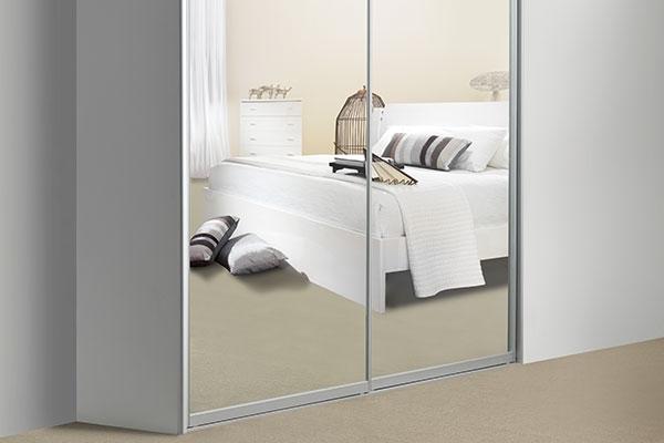 Mirrored sliding doors with satin chrome frame