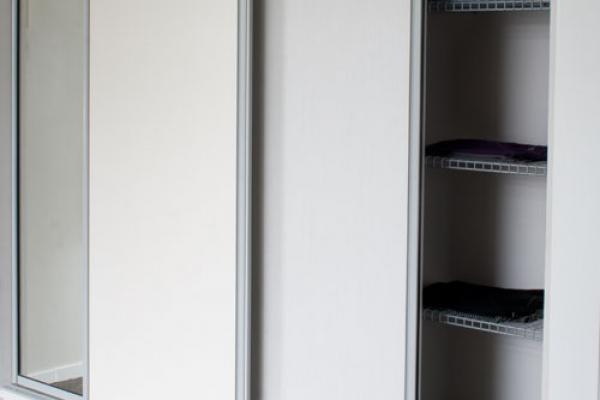 White Panel Satin chrome frame sliding doors